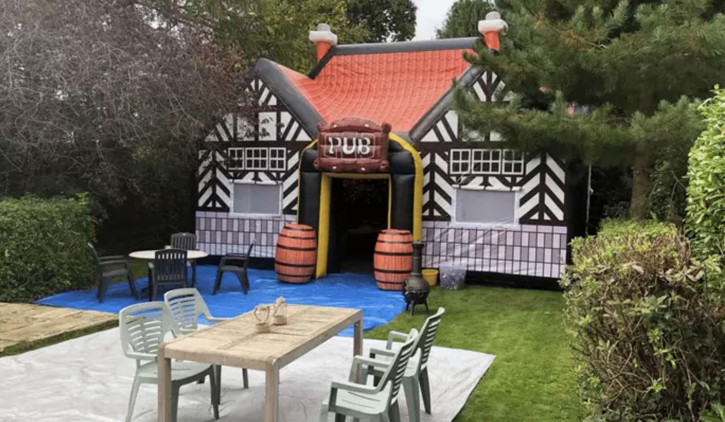 Inflatable pub back garden