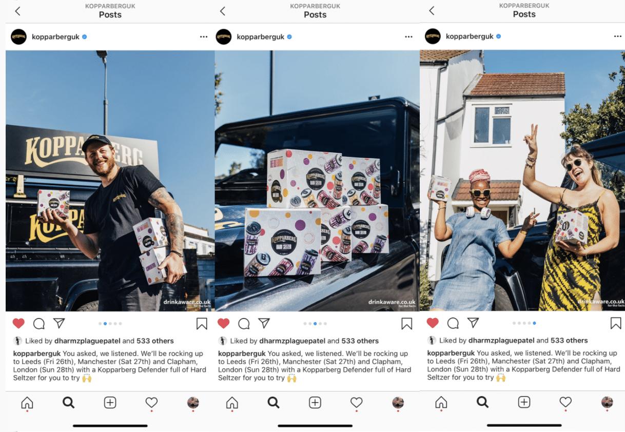 Kopparberg Instagram content