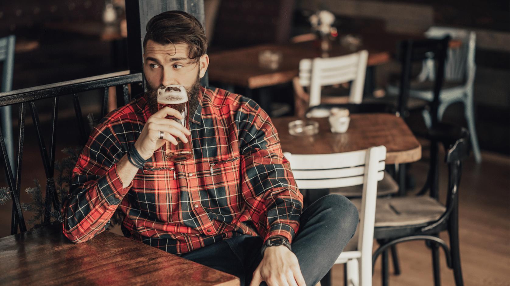 drinking alone in bar